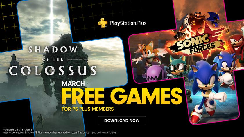 PlayStation Plus в марте: Sony дарит легендарную Shadow of the Colossus и Sonic Forces для PlayStation 4