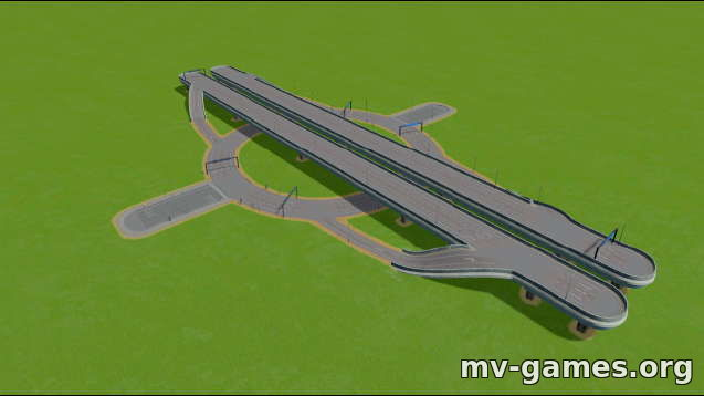 Highway-6 Lane Roundabout для Cities: Skylines